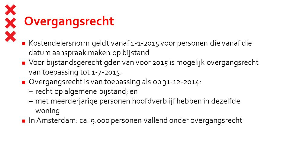 Overgangsrecht Kostendelersnorm geldt vanaf 1-1-2015 voor personen die vanaf die datum aanspraak maken op bijstand.