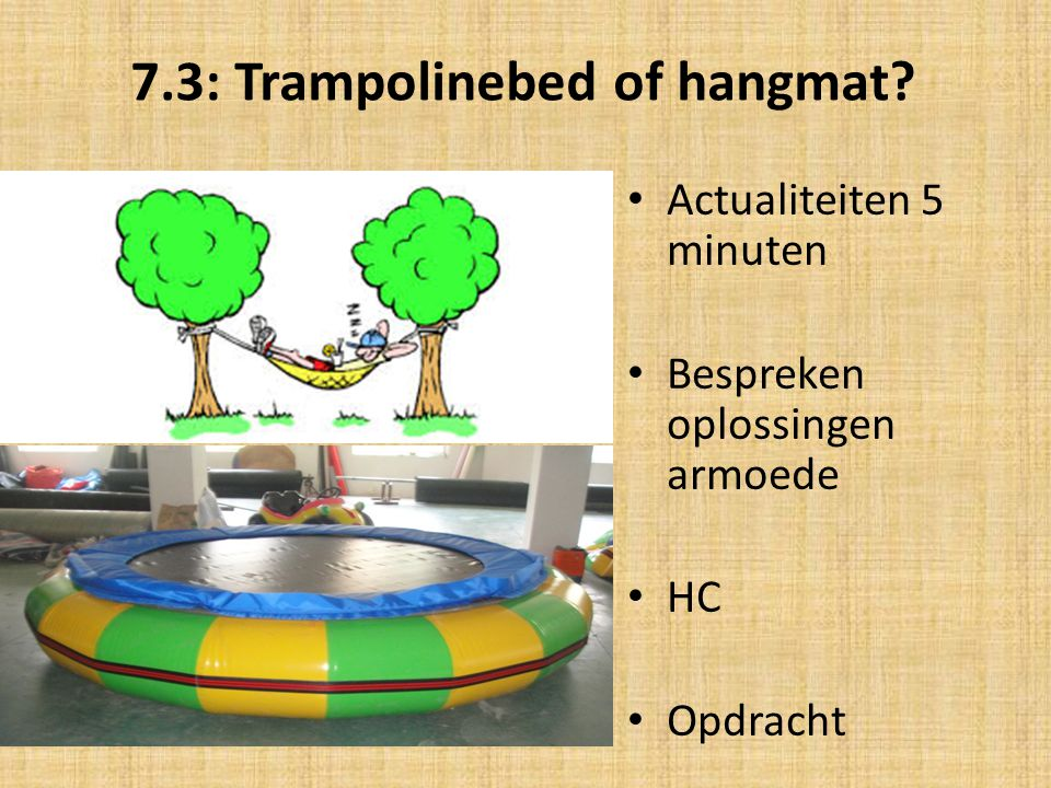 7.3: Trampolinebed of hangmat