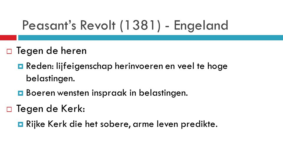 Peasant's Revolt (1381) - Engeland