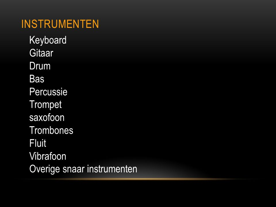 Instrumenten Keyboard Gitaar Drum Bas Percussie Trompet saxofoon