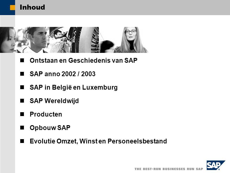 Inhoud Ontstaan en Geschiedenis van SAP SAP anno 2002 / 2003
