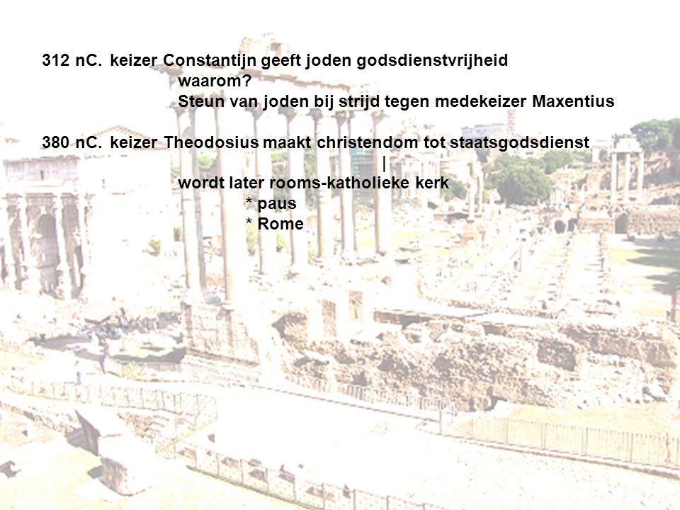 312 nC. keizer Constantijn geeft joden godsdienstvrijheid