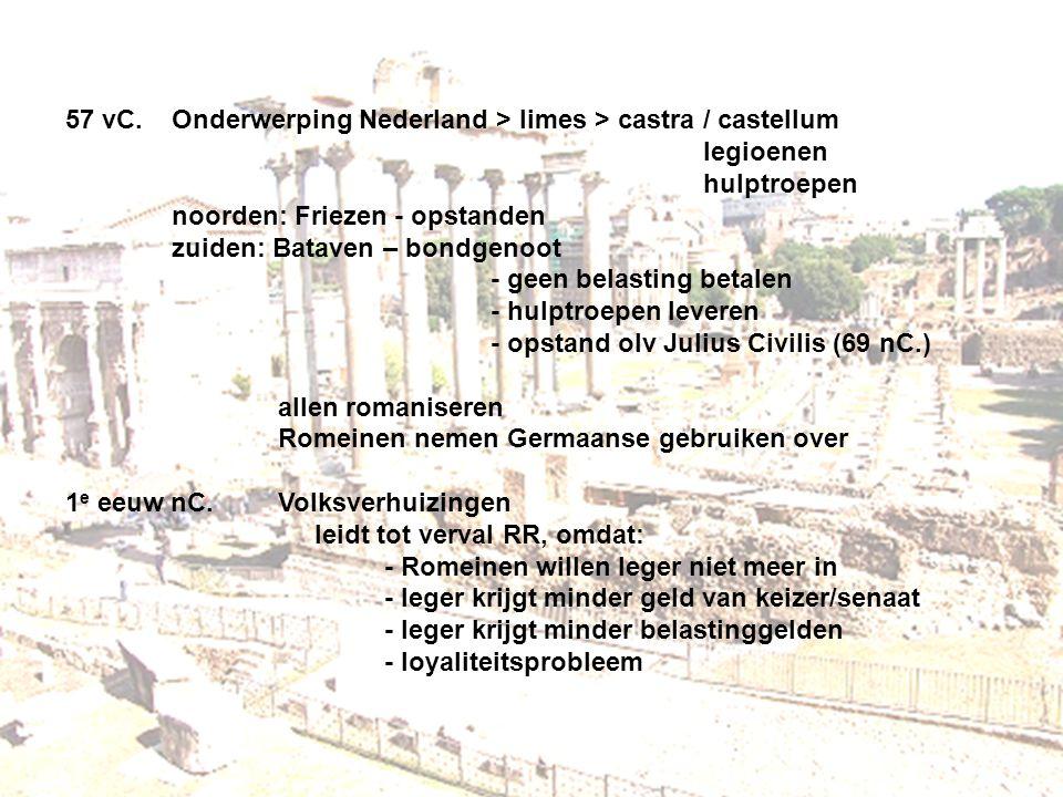 57 vC. Onderwerping Nederland > limes > castra / castellum