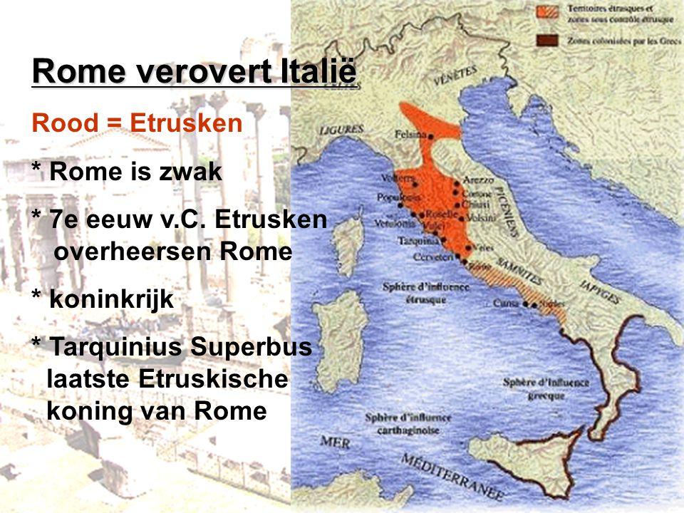 Rome verovert Italië Rood = Etrusken * Rome is zwak