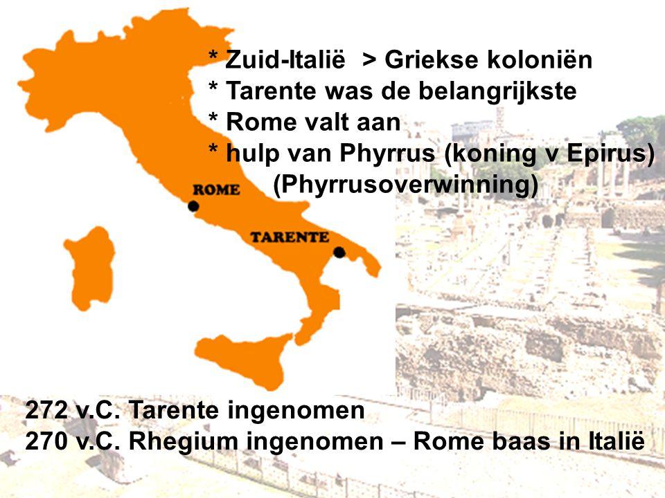 Zuid-Italië > Griekse koloniën. Tarente was de belangrijkste