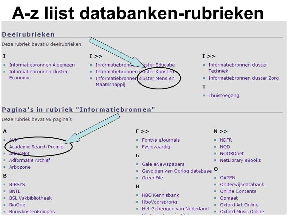 A-z lijst databanken-rubrieken