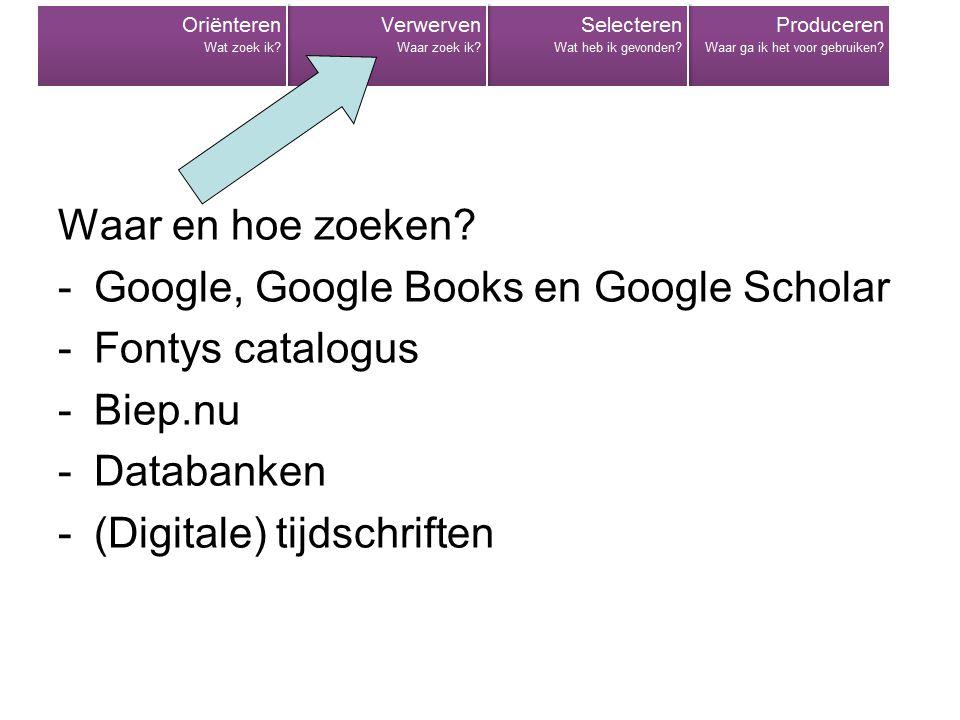 Waar en hoe zoeken Google, Google Books en Google Scholar. Fontys catalogus. Biep.nu. Databanken.