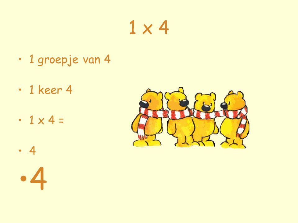1 x 4 1 groepje van 4 1 keer 4 1 x 4 = 4