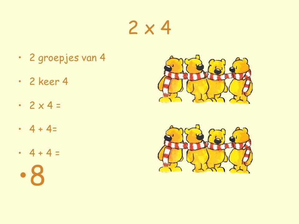 2 x 4 2 groepjes van 4 2 keer 4 2 x 4 = 4 + 4= 4 + 4 = 8