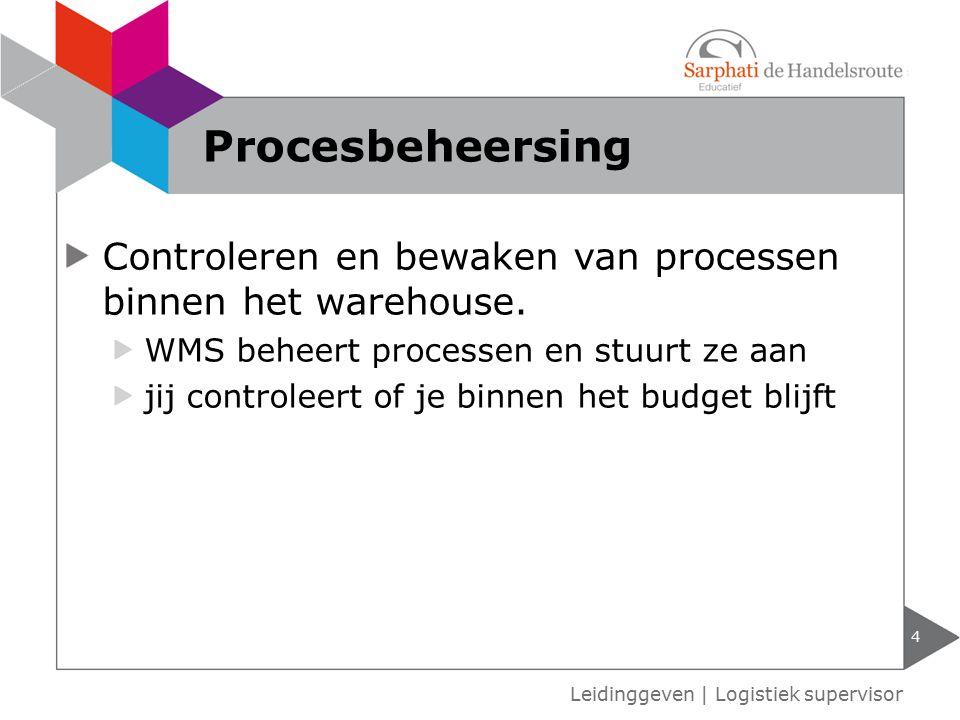 Procesbeheersing Controleren en bewaken van processen binnen het warehouse. WMS beheert processen en stuurt ze aan.