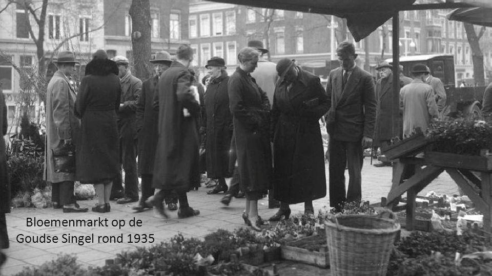 Bloemenmarkt op de Goudse Singel rond 1935