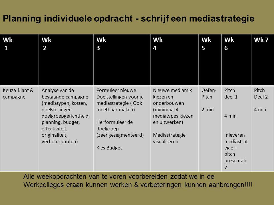 Planning individuele opdracht - schrijf een mediastrategie