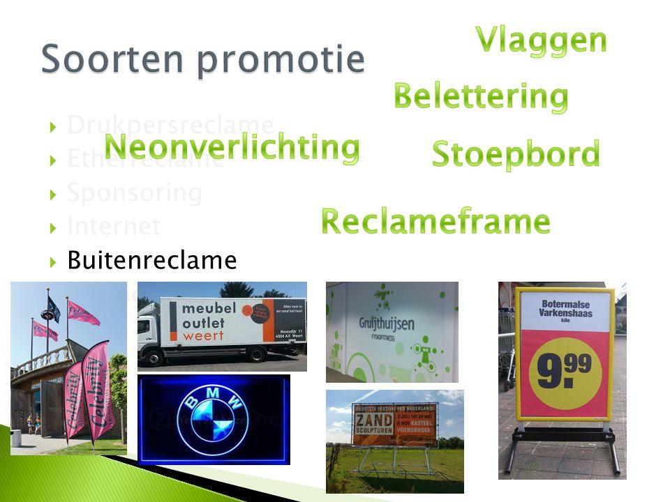 Soorten promotie Vlaggen Belettering Neonverlichting Stoepbord