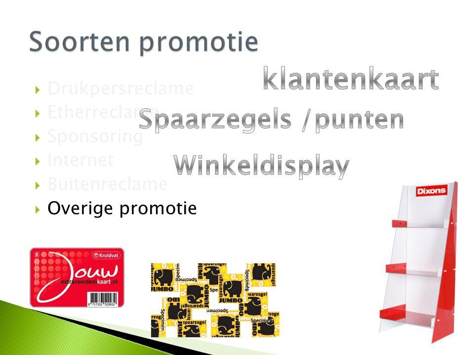 klantenkaart Soorten promotie Spaarzegels /punten Winkeldisplay