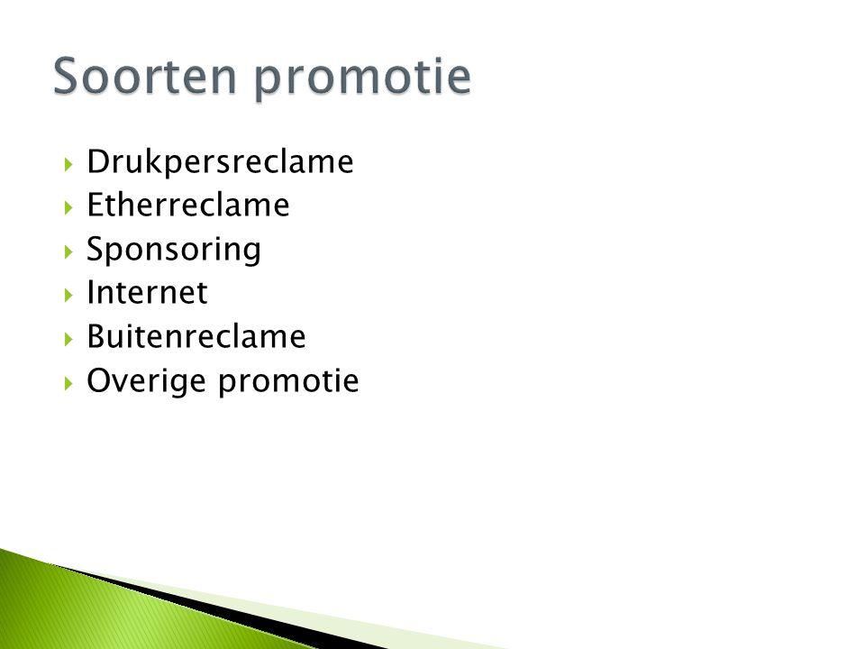 Soorten promotie Drukpersreclame Etherreclame Sponsoring Internet