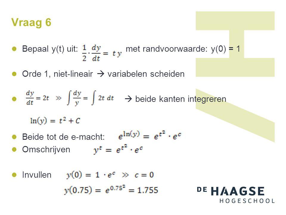 Vraag 6 Bepaal y(t) uit: met randvoorwaarde: y(0) = 1