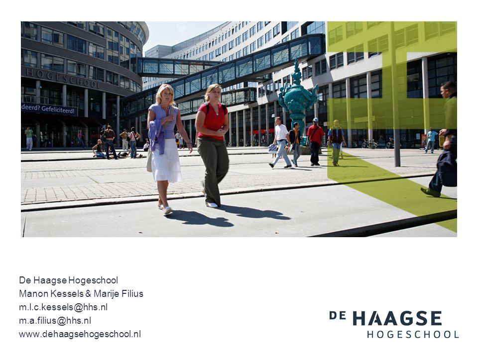 De Haagse Hogeschool Manon Kessels & Marije Filius.