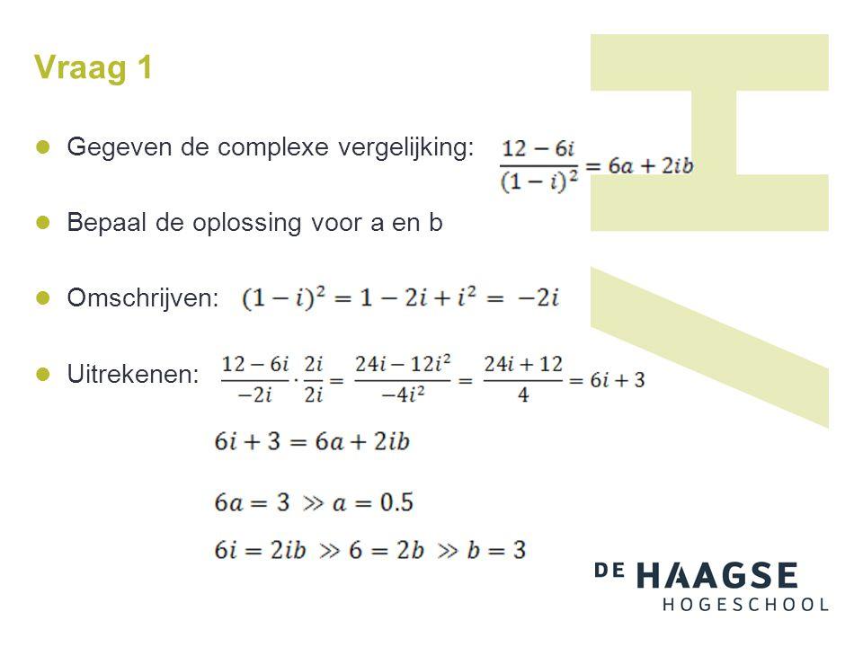 Vraag 1 Gegeven de complexe vergelijking: