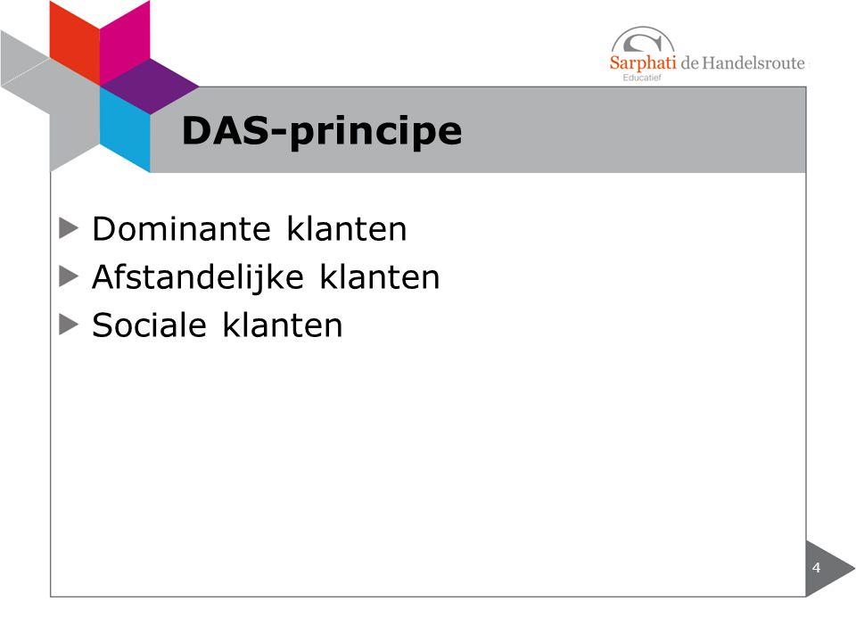 DAS-principe Dominante klanten Afstandelijke klanten Sociale klanten