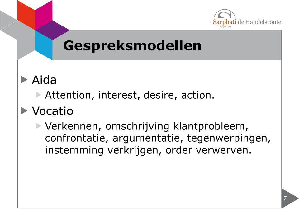 Gespreksmodellen Aida Vocatio Attention, interest, desire, action.