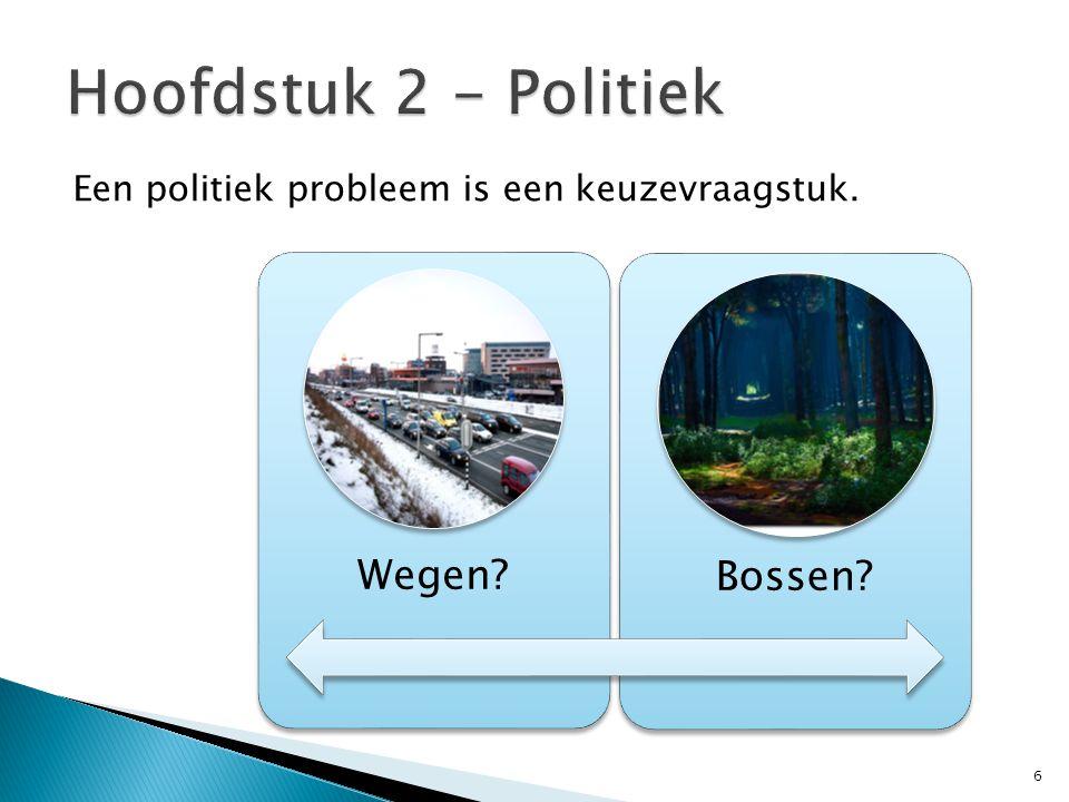 Hoofdstuk 2 - Politiek Een politiek probleem is een keuzevraagstuk.