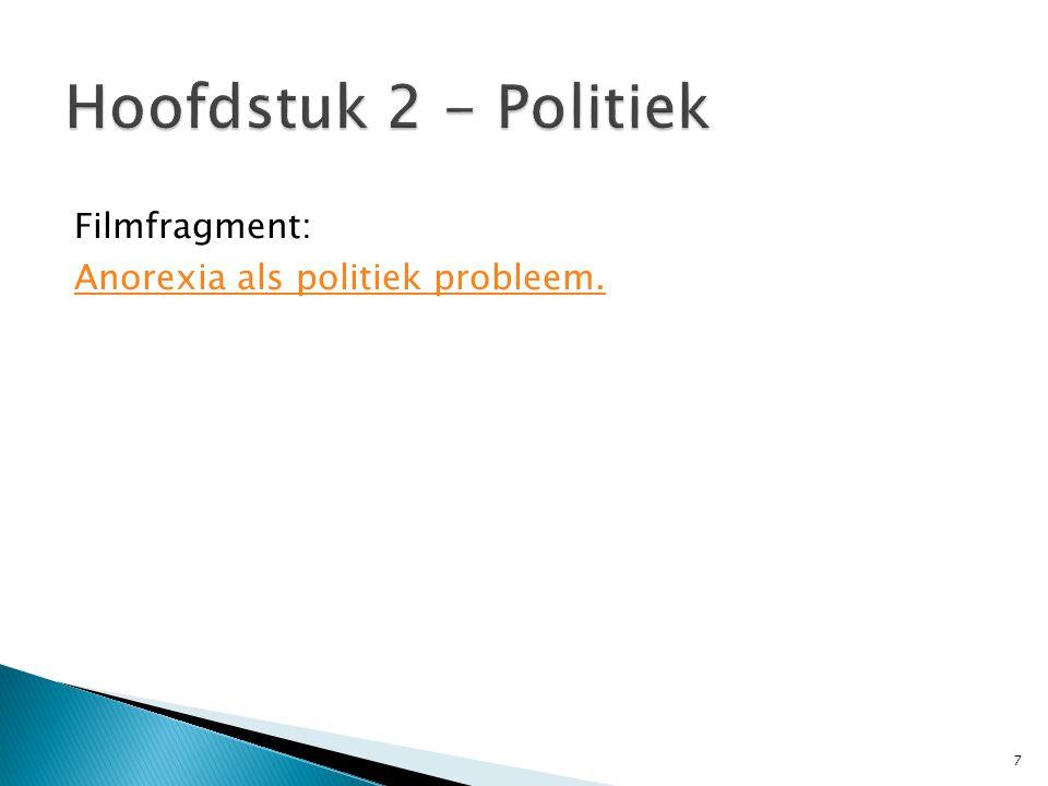 Hoofdstuk 2 - Politiek Filmfragment: Anorexia als politiek probleem.