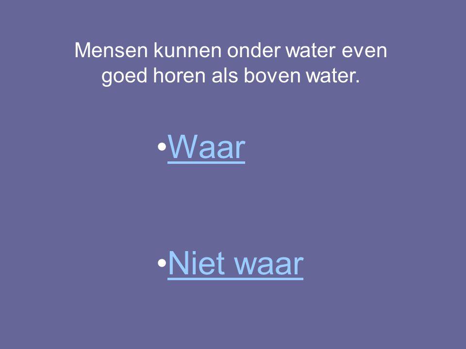 Mensen kunnen onder water even goed horen als boven water.