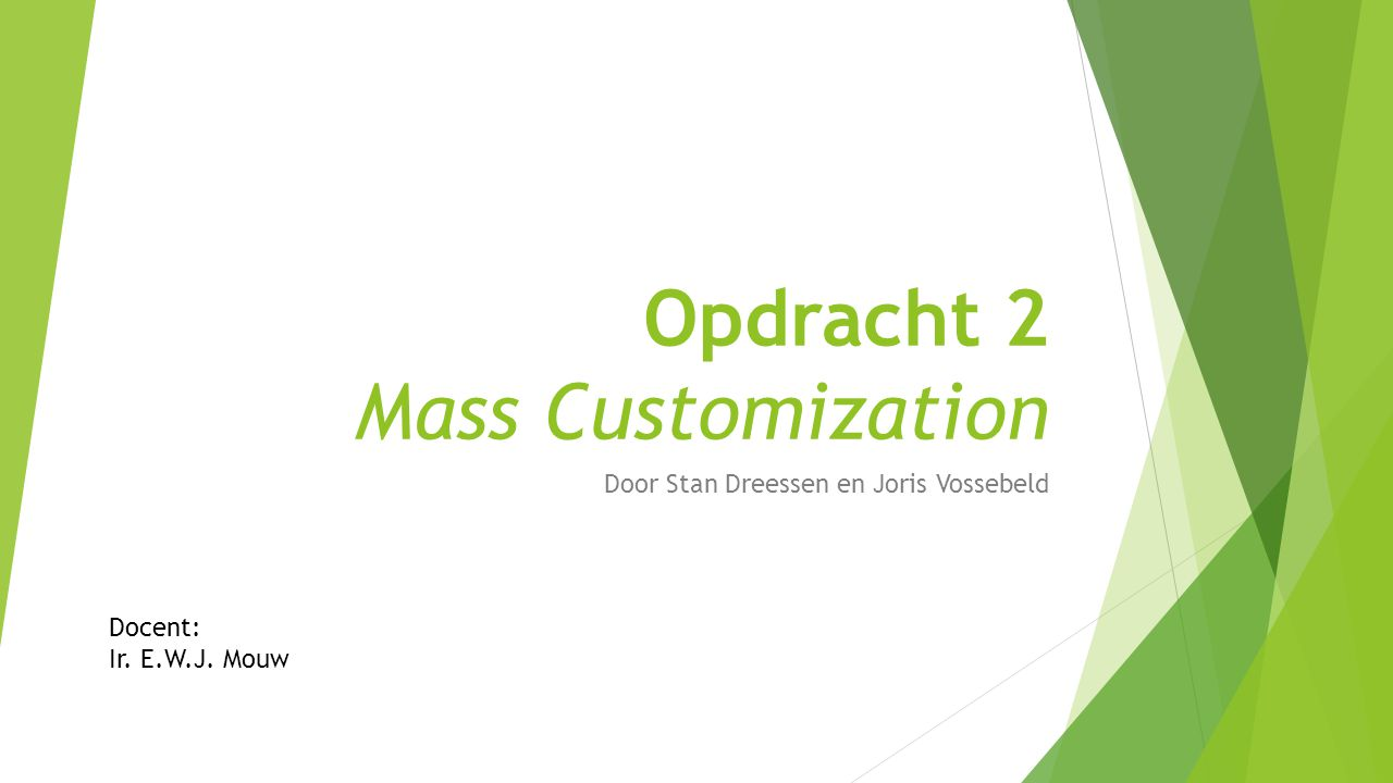 Opdracht 2 Mass Customization
