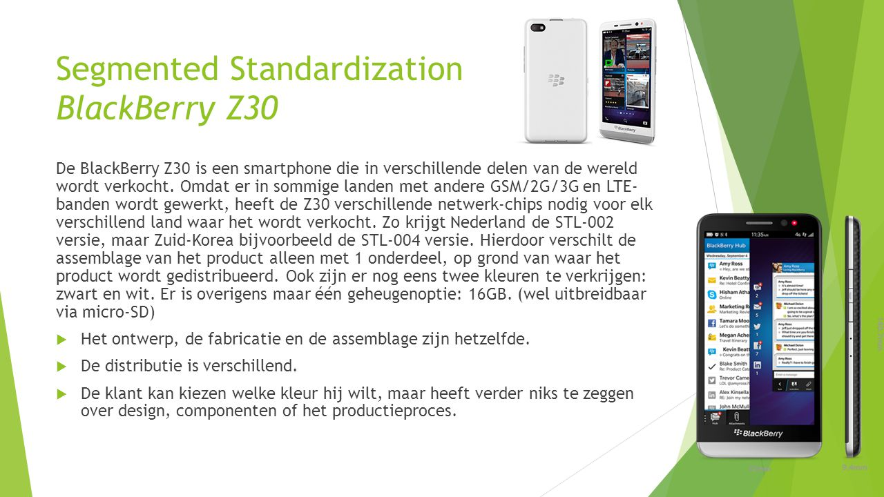 Segmented Standardization BlackBerry Z30