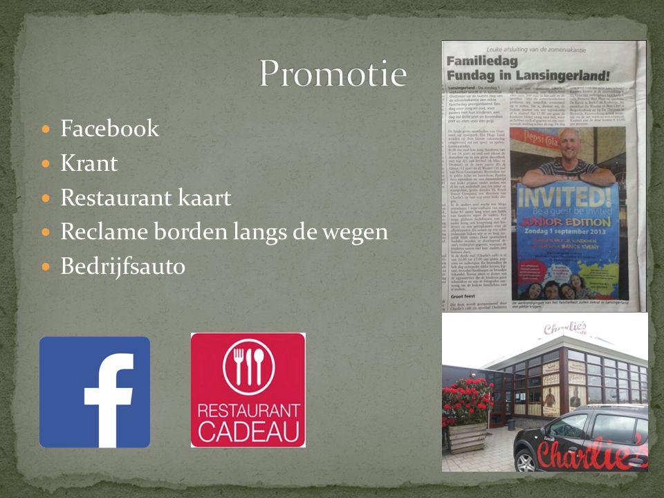 Promotie Facebook Krant Restaurant kaart Reclame borden langs de wegen