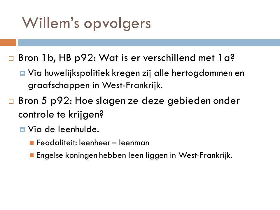 Willem's opvolgers Bron 1b, HB p92: Wat is er verschillend met 1a