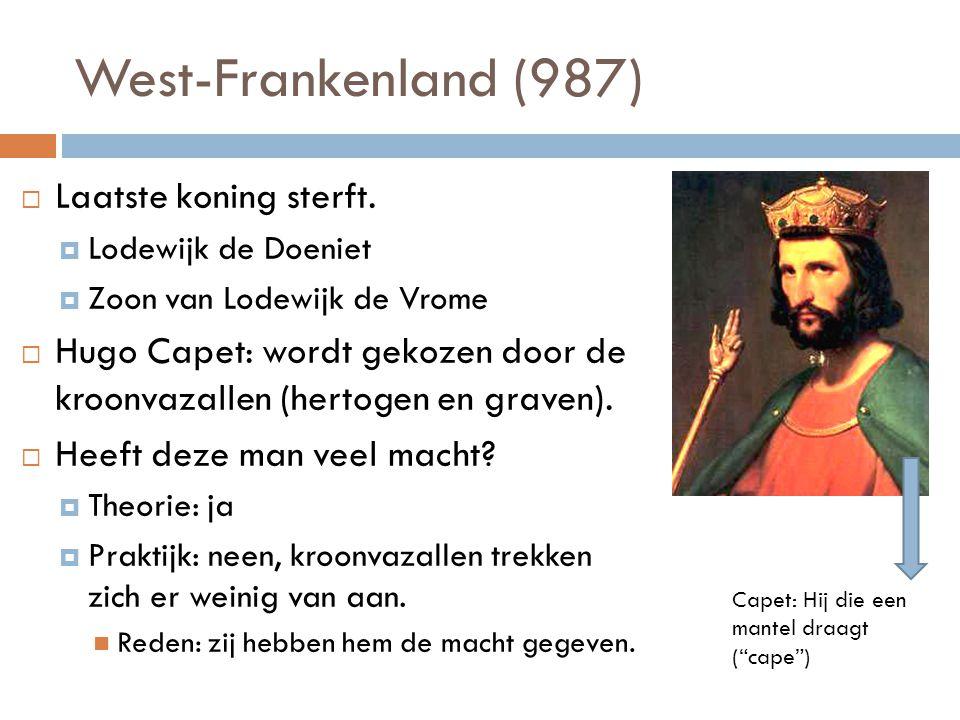 West-Frankenland (987) Laatste koning sterft.