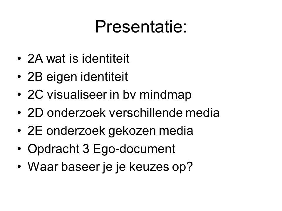 Presentatie: 2A wat is identiteit 2B eigen identiteit