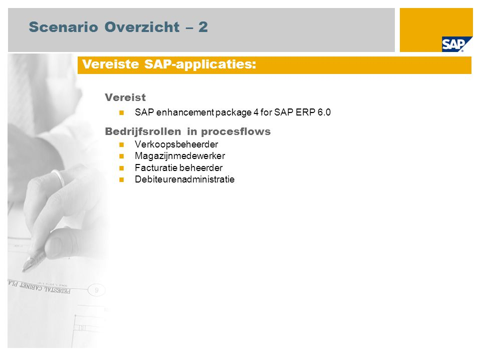 Scenario Overzicht – 2 Vereiste SAP-applicaties: Vereist