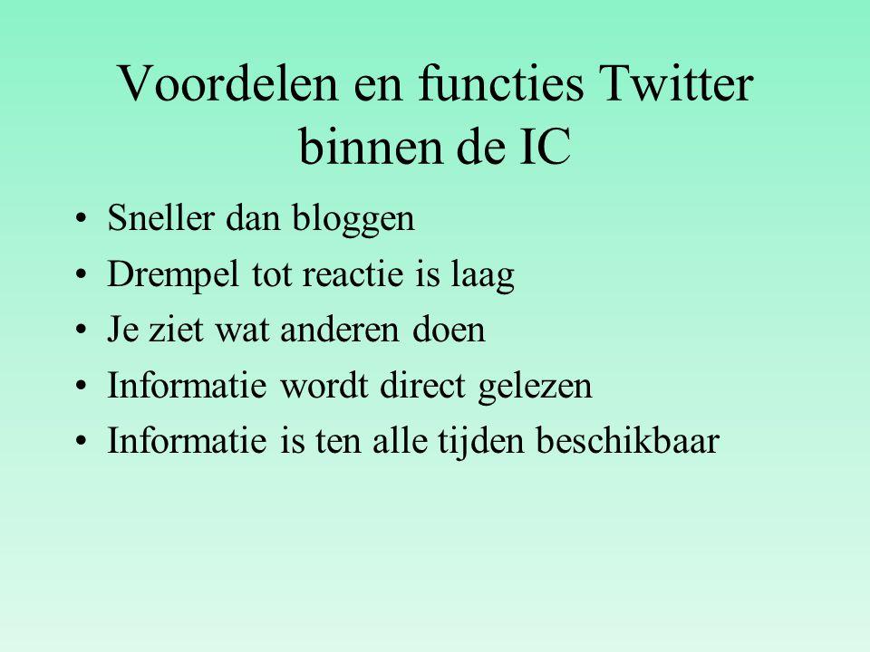 Voordelen en functies Twitter binnen de IC