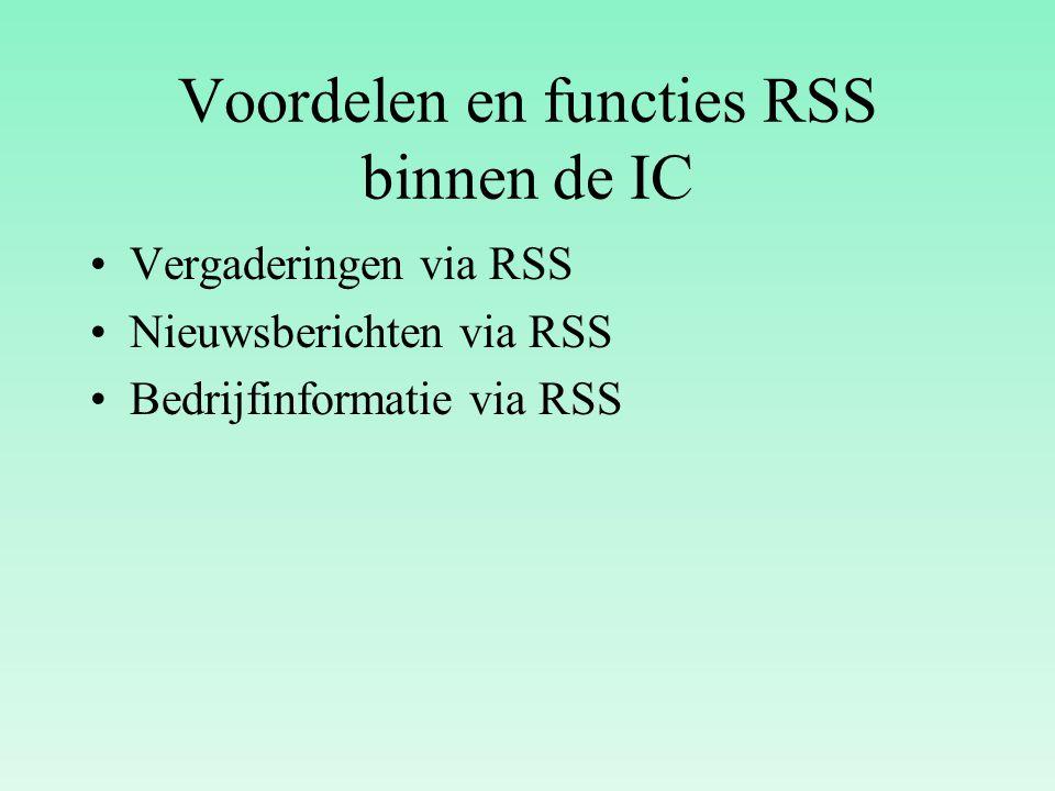 Voordelen en functies RSS binnen de IC