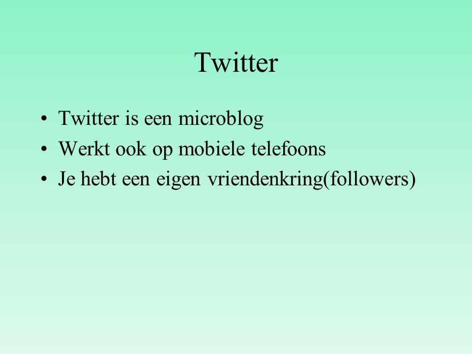 Twitter Twitter is een microblog Werkt ook op mobiele telefoons