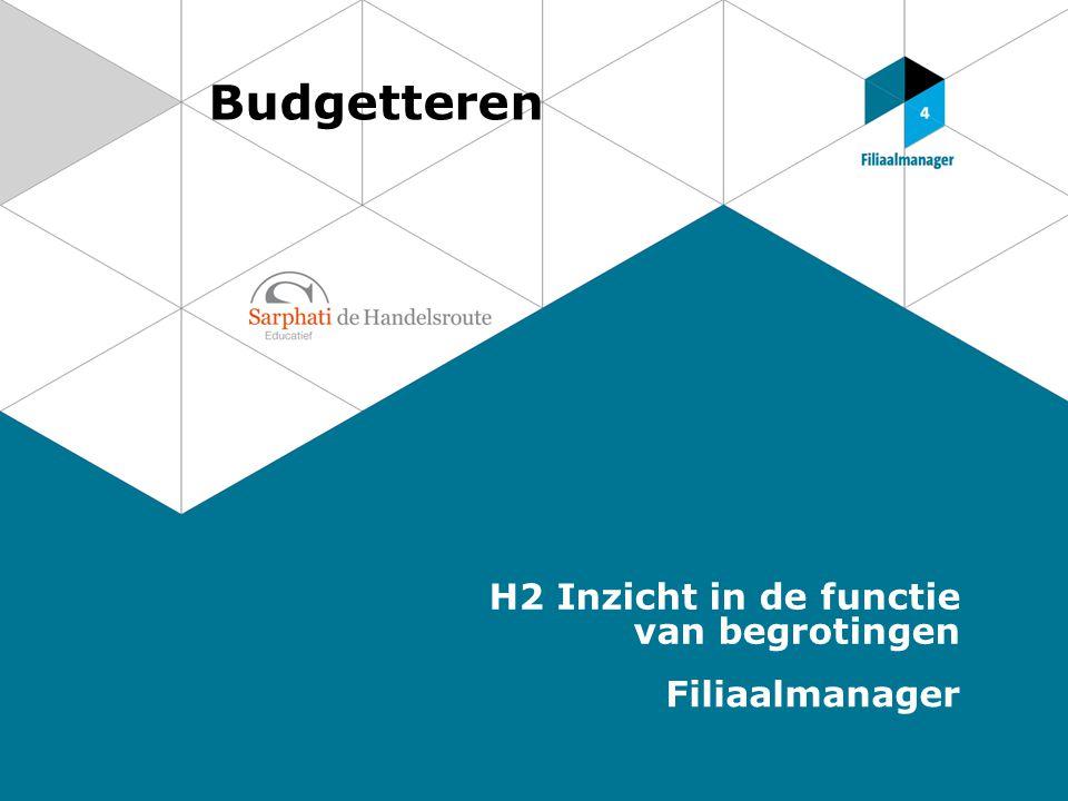 Budgetteren H2 Inzicht in de functie van begrotingen Filiaalmanager