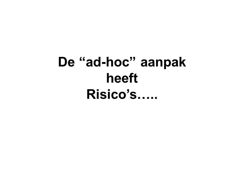 De ad-hoc aanpak heeft Risico's…..