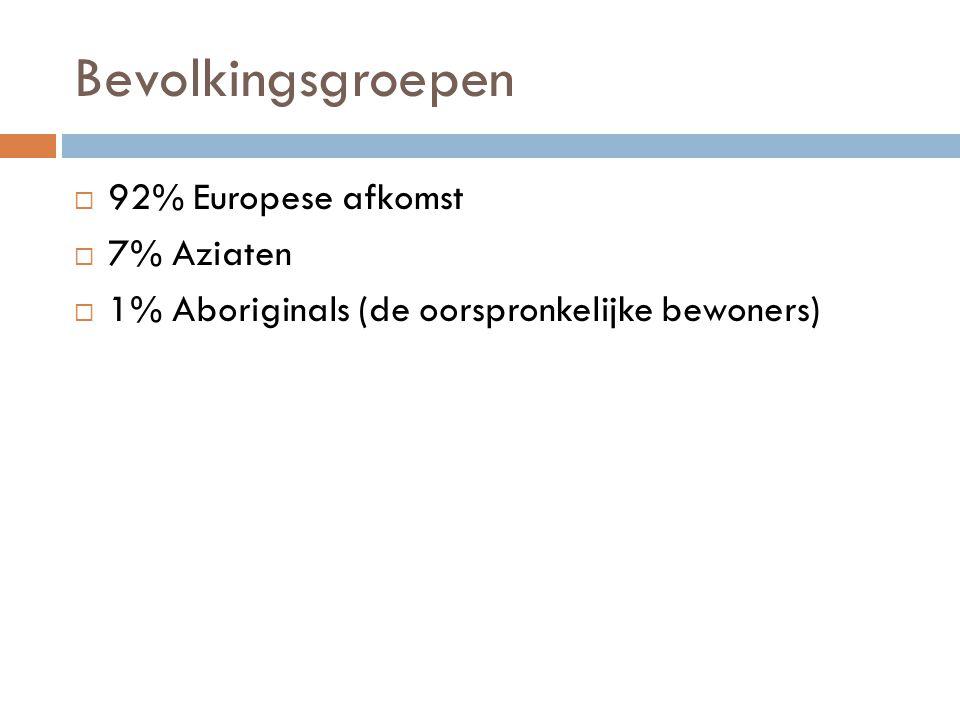 Bevolkingsgroepen 92% Europese afkomst 7% Aziaten