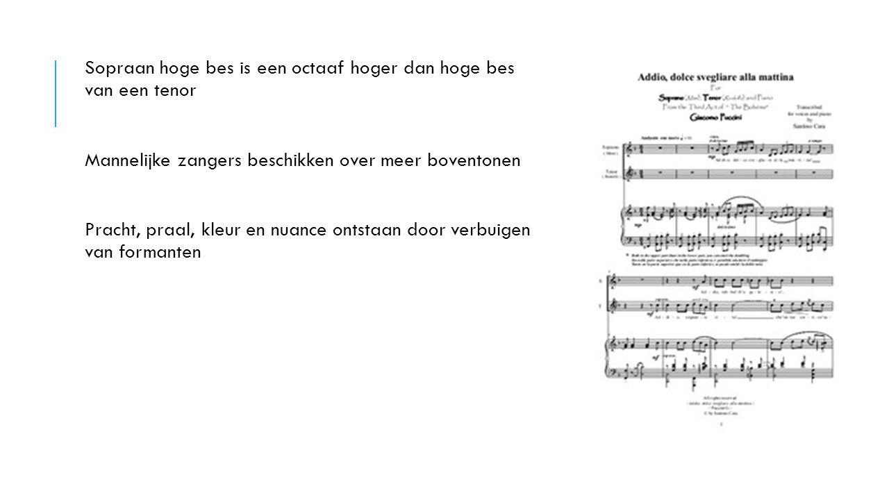 Sopraan hoge bes is een octaaf hoger dan hoge bes van een tenor
