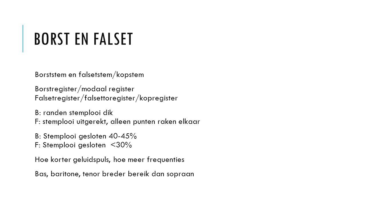 Borst en falset Borststem en falsetstem/kopstem