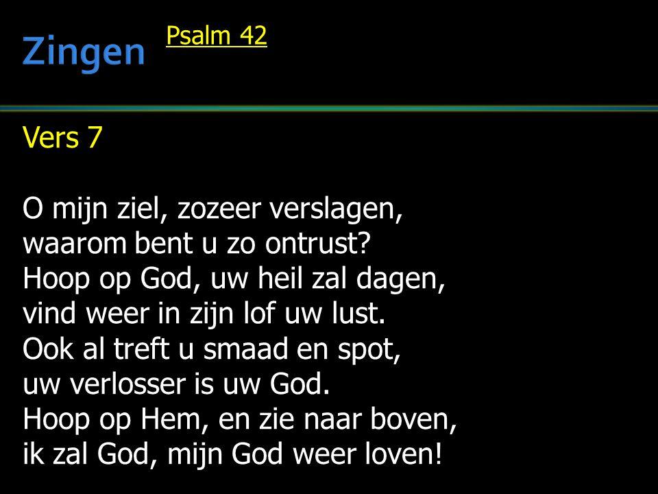 Zingen Vers 7 O mijn ziel, zozeer verslagen, waarom bent u zo ontrust