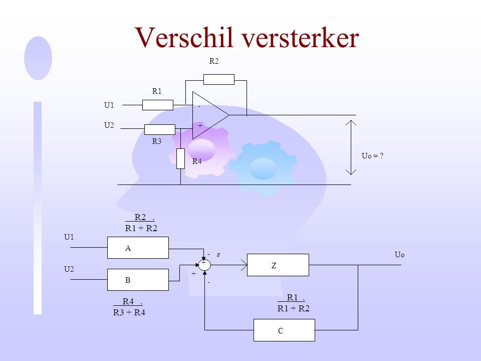 Verschil versterker R2 . R1 + R2 R1 . R4 . R1 + R2 R3 + R4 - + U1