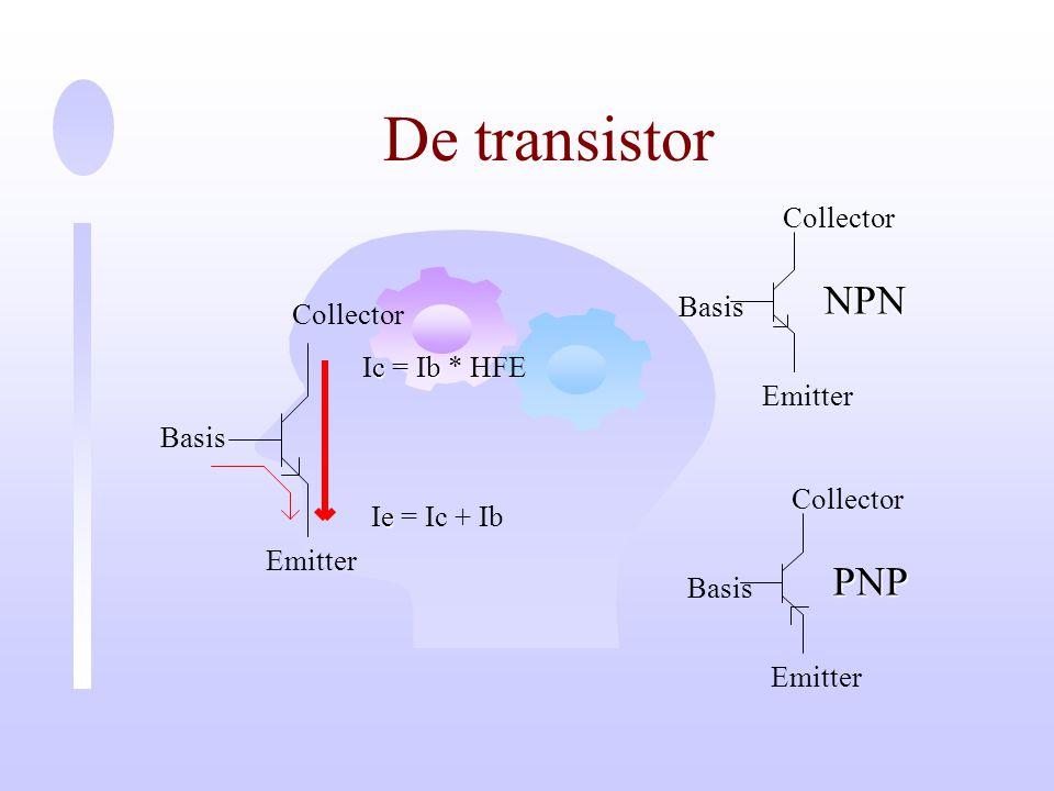 De transistor NPN PNP Collector Basis Collector Ic = Ib * HFE Emitter