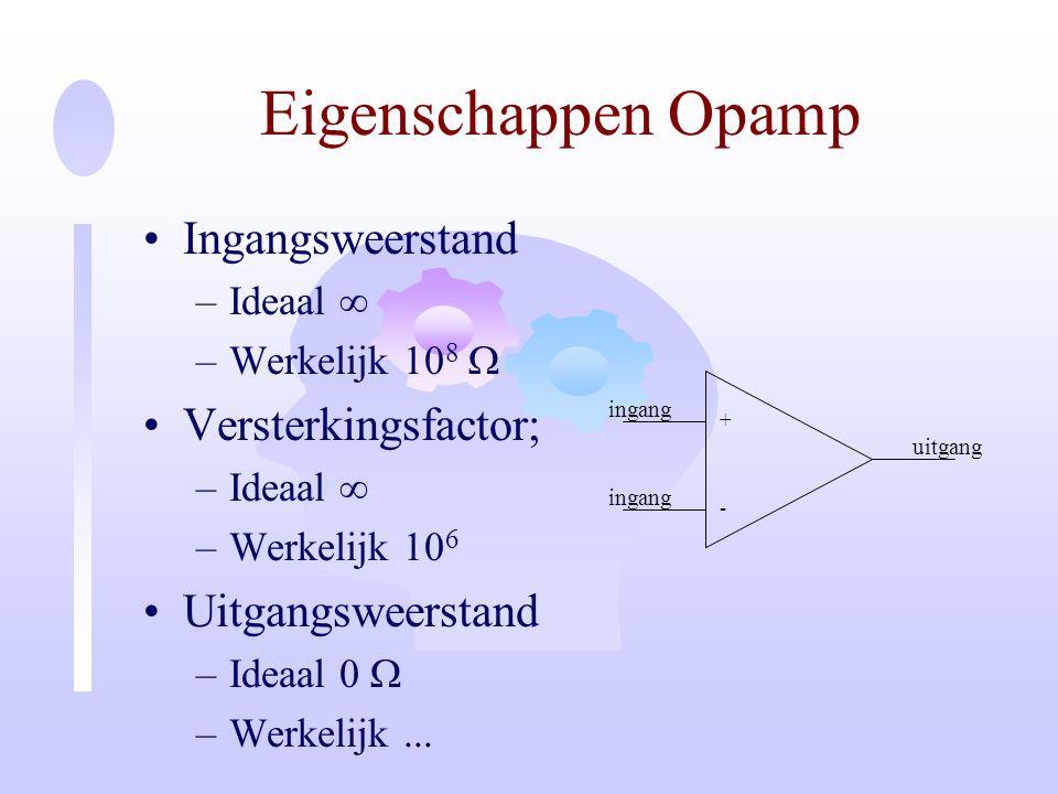 Eigenschappen Opamp Ingangsweerstand Versterkingsfactor;