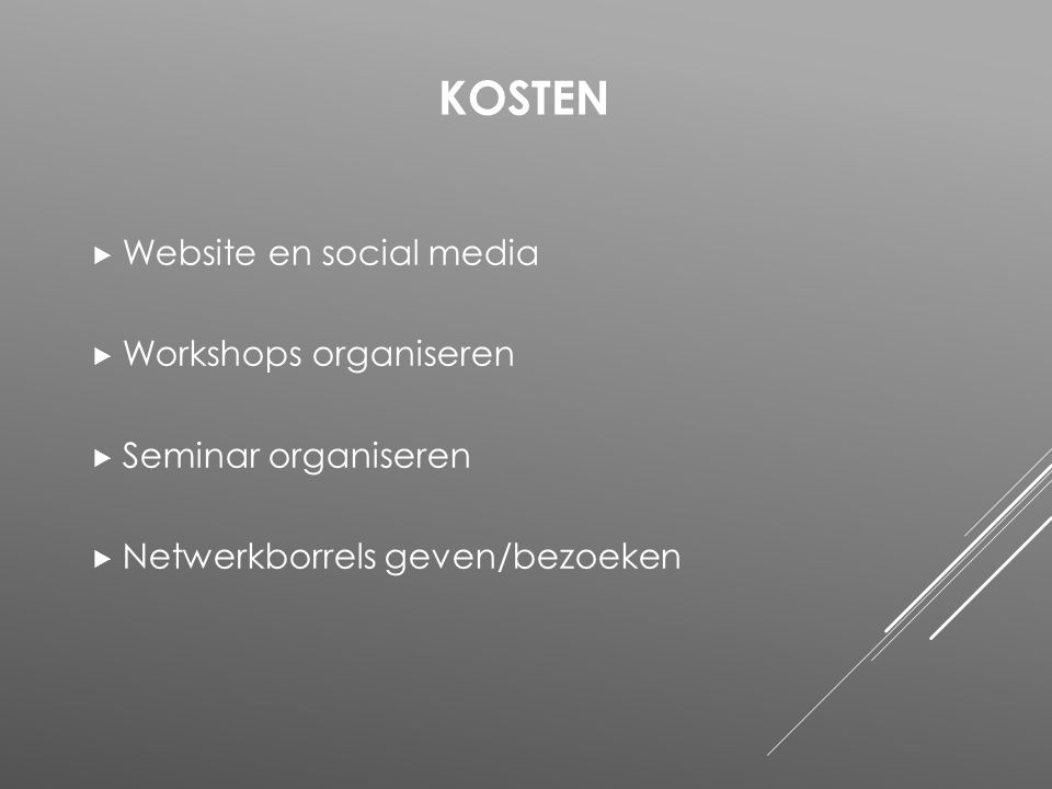 Kosten Website en social media Workshops organiseren