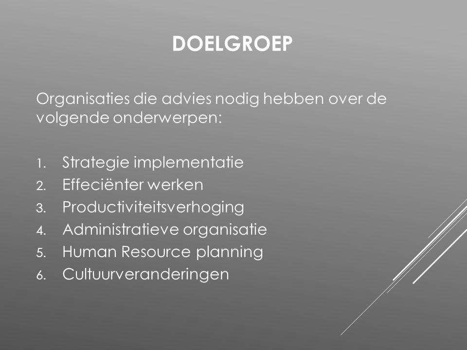 Doelgroep Organisaties die advies nodig hebben over de volgende onderwerpen: Strategie implementatie.