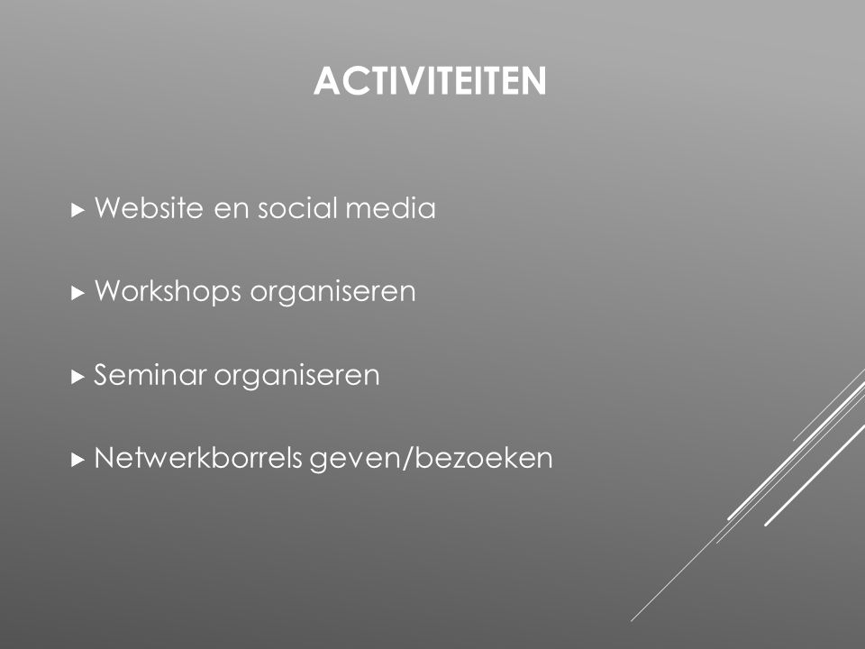 Activiteiten Website en social media Workshops organiseren