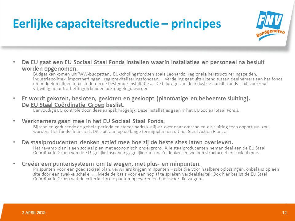 Eerlijke capaciteitsreductie – principes